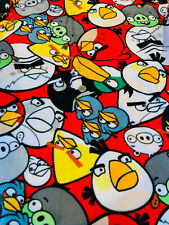 """34"""" Angry Birds Allover on Red Fleece Fabric OOP"""