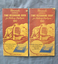 Pair of 1947 Time Recording Books for Railway Employeees Rates of Pay Guide