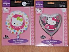 """2 X 18"""" FOIL BALLOONS  BIRTHDAY PARTY  HOLOGRAPHIC HEART & DOTTY HELLO KITTY"""