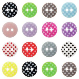 Spotty 2 Hole Buttons - 2 Sizes - 13 Colours - Fast Dispatch and Free Postage
