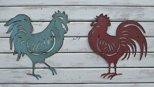 ROOSTER / CHICKEN SILHOUETTE Aqua or Red Kitchen Diner Country METAL WALL ART