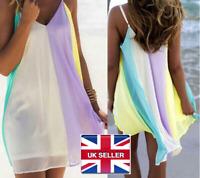 Womens Ladies Summer Boho Chiffon Mini Dress Rainbow Beach Dress Sexy Casual UK