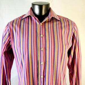 PINK Thomas Pink Mens 15.5 M Medium Shirt Button Down Front Long Sleeve Striped