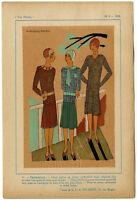 Très Parisien, Mode, handkolorierte gouachierte Lithographie von 1928.