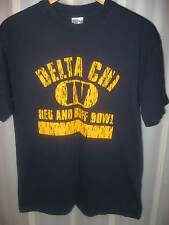 Delta Chi Social Fraternity Red And Buff Bowl College Party Blue T Shirt Medium