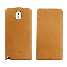 Ezreal Genuine Real Leather Case Flip Cover for Samsung Galaxy Note 3 III Brown
