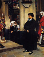 """Nice Oil painting Joseph Tissot - During the Service Many viewers & man 36"""""""