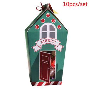 10pcs Christmas Candy Bags Santa Claus Gift Box DIY Cookie Packaging Bag XE