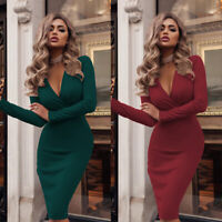 Mini Dress Party Long Sleeve Evening Cocktail Casual Bodycon V Neck Womens Club