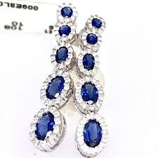 18k White Gold 4.1 Tcw Blue Sapphire & Diamonds Graduated Drop Earrings