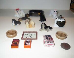 LARGE Dollhouse Lot ARTIST & HEIDI OTT Miniature DOGS ACCESSORIES & FURNITURE