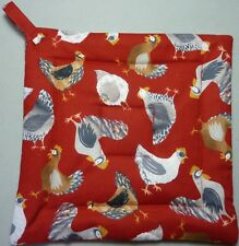 Deluxe Hot Pad / Potholder: TOSSED CHICKENS ON RED/ White/ Grey/ Red :  Quilted