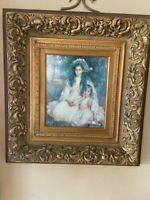 Vintage Elegant Oil Painting of Two Sisters in a  Stunning Gilded Frame