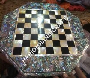 18'' Marble Side Coffee Table Top Chess Precious PauaShell Inlay Home Decor E760