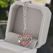 Girls Silver Plated Necklace Love Heart Necklace Gift For Sister Present 50cm