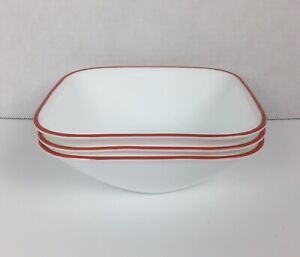 Corelle Vitrelle Square Clean Lines Soup Cereal Bowls With Red Orange Trim (3)