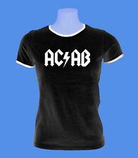 Girlie Damen T-Shirt AC/AB Polizei Streetfight Hool schwarz weiß S M L Bündchen