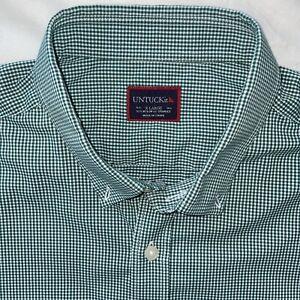 Untuckit XL GREEN GINGHAM Check Button Down Shirt LONG SLEEVES Performance