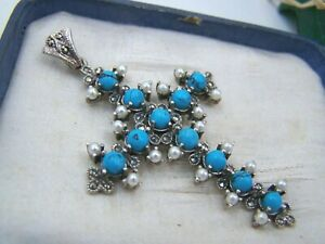 GORGEOUS STERLING SILVER TURQUOISE SEED PEARL MARCASITE CROSS CRUCIFIX PENDANT