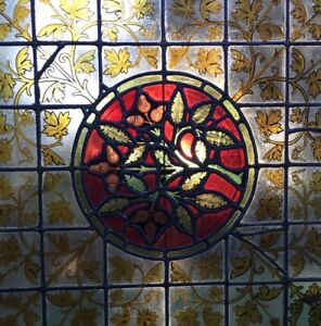 "Manhattan Historic Victorian 1800's Century Tudor Stained Glass Window 31""x 32"""