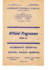 Aldershot v Crystal Palace Reserves Programme 11.10.1958 Football Combination