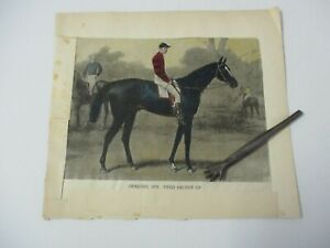 Hand-colored Print of Racehorse IROQUOIS, Fred Archer Up (1878-1899), ca 1920-30