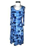 SUSAN GRAVER Size L A-Line Dress Blue Cold Shoulder 3/4th Sleeve Liquid Knit