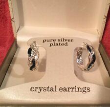 Sparkle Allure Crystal & Blue Entwined Hoop Earrings - Silver Plated - NIB