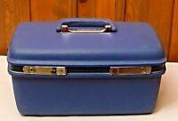 Samsonite Concord Blue Train Case Make Up Case w/ Good Mirror Inside Pocket C-31