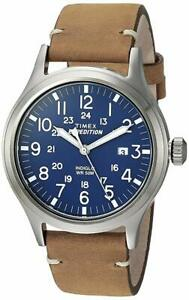 """Timex TW4B01800, Men's """"Expedition"""" Brown Leather Watch, Scout, Indiglo, Date"""