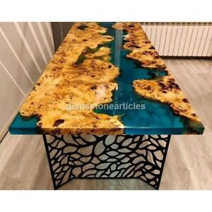 Poplar Wood Transparent Translucent Turquoise Green Epoxy River Dining Table Top