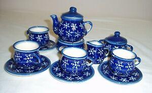 Childs Toy Play Ceramic Tea Set 12 Pieces Blue-White