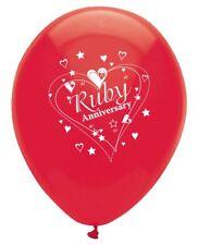 "6 X RUBY ANNIVERSARY 12"" LATEX BALLOONS HELIUM 40 YEAR 40th PARTY WEDDING NEW"