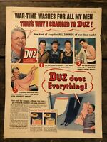 RARE Vintage 1942 DUZ Laundry Soap AD WWII Illustrations 11.5x15 Inch LOU GEHRIG
