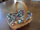 1998 Small Longaberger Fixed Handle Basket Liner & Protector American Cancer Soc