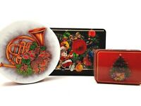 Three Assorted Holiday Christmas Tins Featuring Toys & Animals Decorative Boxes