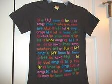 DELIA'S JUNIOR'S SIZE SMALL T-SHIRT SOFT BLACK SHORT SLEEVES TEXT ABBREVIATIONS