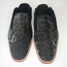 Free People Womens Euro 41 US 11 Dark Grey Butterfly Effect Faux Fur Lined Mules