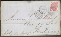 1872 GB UK QV 4d Rose Plate 8 Postal Entire CARDIFF to ST. BRIEUC PARIS France