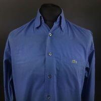 Lacoste Mens Shirt MEDIUM Long Sleeve Blue Regular Fit No Pattern Cotton