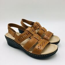 """Coral Leather Size 6-12 W Clarks Collection Leather Cutout /""""Lexi Qwin/"""" Sandal"""