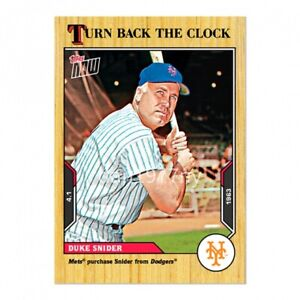 🛑👀 2021 TOPPS NOW TURN BACK THE CLOCK DUKE SNIDER #1 🔥 PRESALE
