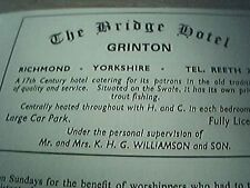 ephemera 1971 advert the bridge hotel grinton mr mrs k h williamson