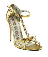 Gucci Regina Gold Leather Sandals, Size 38