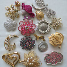 Vintage Fashion Flower Gold Silver Pink Tone Crystal Jewelry Brooch Pin Lot #10