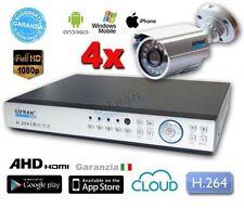 Videosorveglianza 4 canali DVR AHD H.264 HDMI 1000 GB con 4 Telecamere CCD 1/3