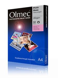 "Olmec 260gsm Photo Glossy 10"" x 8"" Inkjet Paper 50 Sheets (OLM6010X8)"
