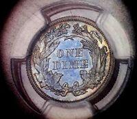 Seated Liberty Dime 1868 PCGS PR 64++++ Monster Purple Blue Lavender Rainbow CAM