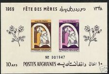 AFGHANISTAN 10 AFGHANIS 1969 MOTHER CHILD IMPERF STAMP MINIATURE SHEET