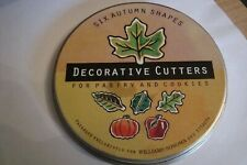 Tin  6 Decorative Small Pastry Cookie Cutters Autumn Shapes WilliamsSonoma 1-2""